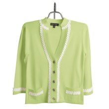 Audrey Talbott Cardigan Sweater - Loop Trim, 3/4 Sleeve (For Women) in Kiwi Green - Closeouts