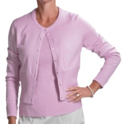 Audrey Talbott Chloe Crop Cardigan Sweater - Cotton Rich (For Women) in Lavender