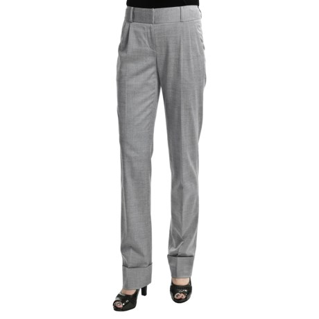 Audrey Talbott Chris Pleated Pants - High-Twist Wool, Stretch (For Women) in Platinum