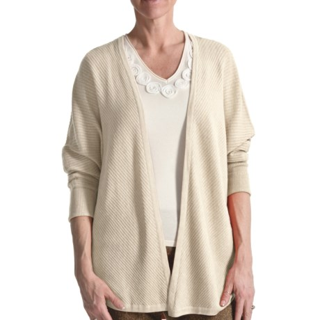 Audrey Talbott Diagonal Cardigan Sweater - 3/4 Sleeve (For Women) in Brie