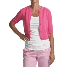 Audrey Talbott Eliza Cardigan Sweater - Cotton Tape Yarns, Short Sleeve (For Women) in Guava - Closeouts