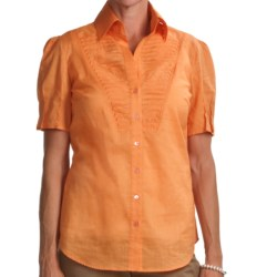 Audrey Talbott Elle Shirt - Cotton Voile, Short Sleeve (For Women) in Mango