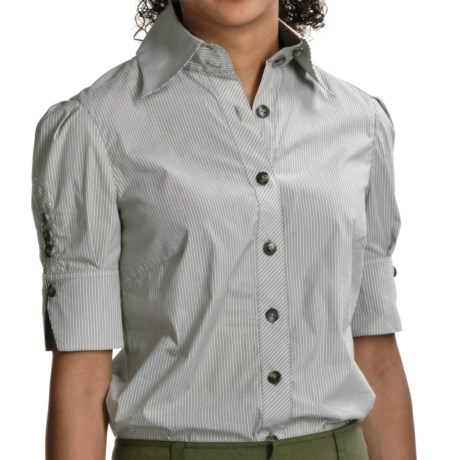 Audrey Talbott Ellen Detailed Shirt - Stretch Cotton, Short Sleeve (For Women) in Rosemary