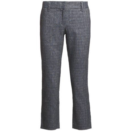 Audrey Talbott Hapri Crosshatch Ankle Pants - Cotton-Linen (For Women) in Regatta/White
