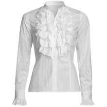 Audrey Talbott Kay Shadow Stripe Shirt - Cotton, Ruffle Front, Long Sleeve (For Women) in White - Closeouts