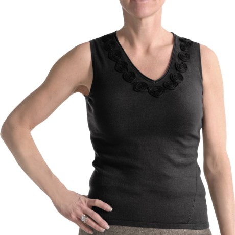 Audrey Talbott Luxe Knit Tank Top - Rosette Detail (For Women) in Black