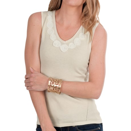 Audrey Talbott Luxe Knit Tank Top - Rosette Detail (For Women) in Brie