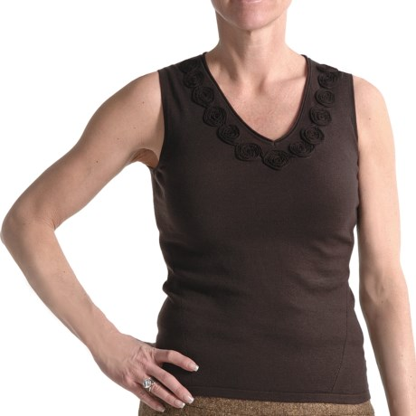 Audrey Talbott Luxe Knit Tank Top - Rosette Detail (For Women) in Dark Terrior