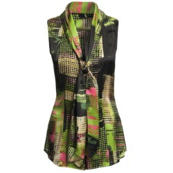 Audrey Talbott Madison Silk Shirt - Scarf Front, Sleeveless (For Women) in Multi