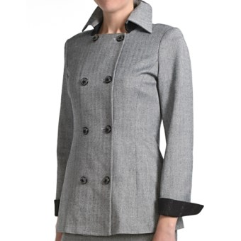 Audrey Talbott Margete Herringbone Jacket - Double Breasted (For Women) in Black Multi