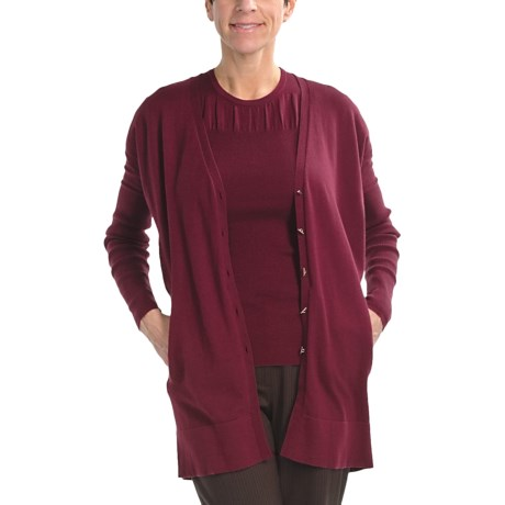 Audrey Talbott Naomi Cardigan Sweater - Cotton-Silk-Cashmere (For Women) in Port