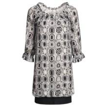 Audrey Talbott Rose Bubble Dress - Silk Chiffon, 3/4 Sleeve (For Women) in Regatta/White - Closeouts
