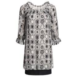 Audrey Talbott Rose Bubble Dress - Silk Chiffon, 3/4 Sleeve (For Women) in Regatta/White