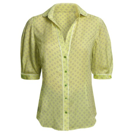 Audrey Talbott Silk Blouse - Polka Dot, Elbow Sleeve (For Women) in Kiwi