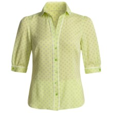 Audrey Talbott Silk Georgette Dot Shirt - V-Neck, Elbow Sleeve (For Women) in Kiwi Green - Closeouts
