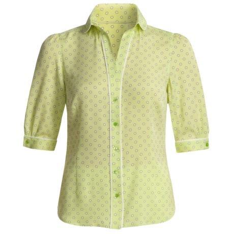 Audrey Talbott Silk Georgette Dot Shirt - V-Neck, Elbow Sleeve (For Women) in Kiwi Green