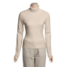 August Silk 4x2 Ribbed Turtleneck - Long Sleeve (For Women) in Bavarian Cream - Closeouts