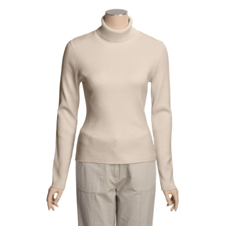 August Silk 4x2 Ribbed Turtleneck - Long Sleeve (For Women) in Bavarian Cream