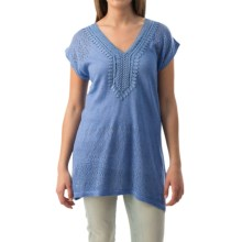 August Silk Applique and Pointelle Shirt - Short Sleeve (For Women) in Blue Beyond - Closeouts