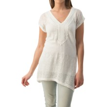August Silk Applique and Pointelle Shirt - Short Sleeve (For Women) in Cotton Ball - Closeouts