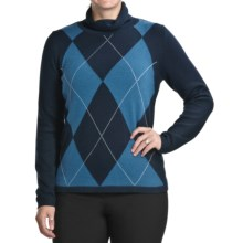 August Silk Argyle Sweater (For Women) in Blue/Teal - Closeouts