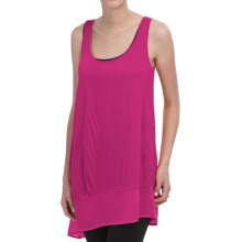 August Silk Asymmetrical Tank Top - Scoop Neck (For Women) in Fuchsia Purple - Closeouts