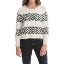 August Silk Aztec Sweater (For Women) in White/Black - Closeouts