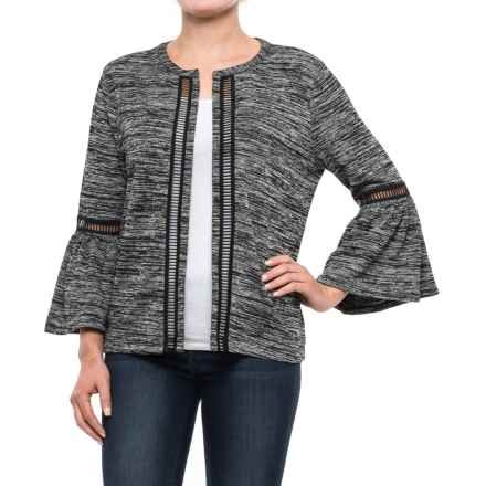 August Silk Bell-Sleeve Knit Jacket (For Women) in Black/Grey - Closeouts