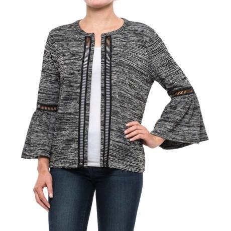 August Silk Bell-Sleeve Knit Jacket (For Women) in Black/Grey