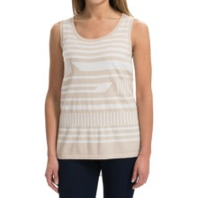August Silk Broken-Stripe Shirt - Sleeveless (For Women) in Ash/White - Closeouts