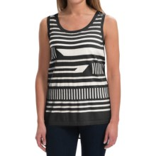 August Silk Broken-Stripe Shirt - Sleeveless (For Women) in Black/Cream - Closeouts