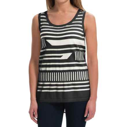 August Silk Broken-Stripe Shirt - Sleeveless (For Women) in Black/Cream - Closeouts