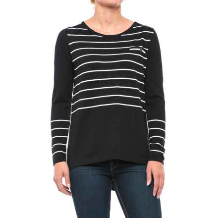 August Silk Button-Back Striped Sweater (For Women) in Black/Cream - Closeouts