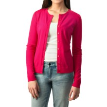 August Silk Button Cardigan Sweater - Silk Blend (For Women) in Bright Rose - Closeouts