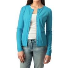 August Silk Button Cardigan Sweater - Silk Blend (For Women) in Candid Aqua - Closeouts
