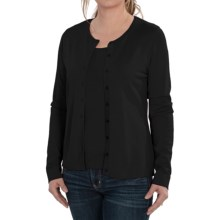 August Silk Button Front Cardigan Sweater (For Women) in Black - Closeouts
