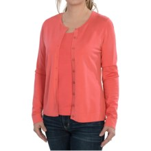August Silk Button Front Cardigan Sweater (For Women) in Warm Coral - Closeouts