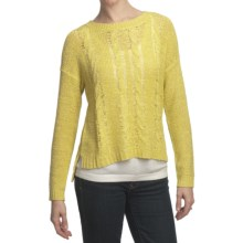 August Silk Cable Sweater - Tape Yarn (For Women) in Candied Citron - Closeouts