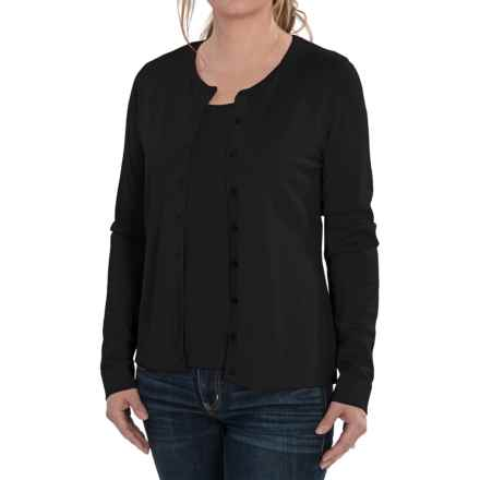 August Silk Cardigan Sweater - Silk Blend (For Women) in Black - Closeouts