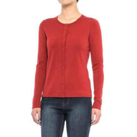 August Silk Cardigan Sweater - Silk Blend (For Women) in Burnt Red - Closeouts