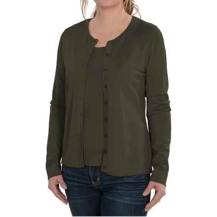 August Silk Cardigan Sweater - Silk Blend (For Women) in Military Olive - Closeouts