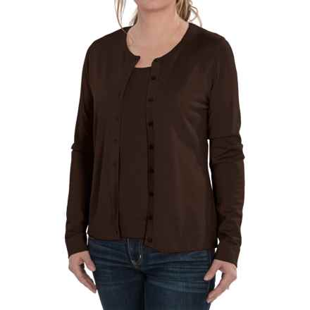 August Silk Cardigan Sweater - Silk Blend (For Women) in Semi Sweet - Closeouts
