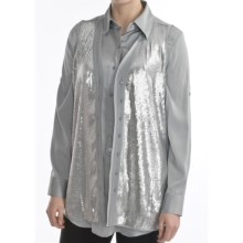 August Silk Charmeuse Vest - V-Neck, Sequin Front (For Women) in Pale Smoke - Closeouts