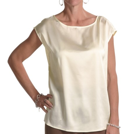 August Silk Charmeuse Wedge Shirt - Sleeveless (For Women) in Bavarian Cream