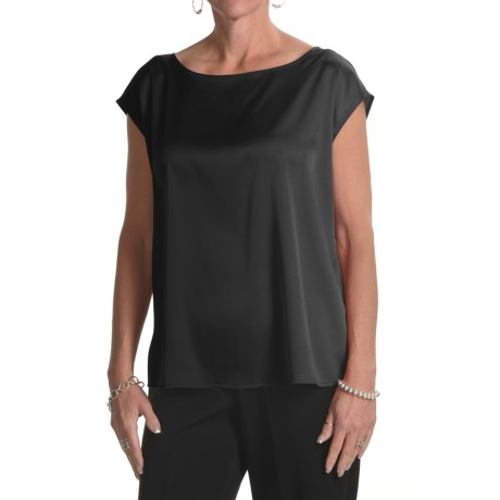 August Silk Charmeuse Wedge Shirt - Sleeveless (For Women) in Black