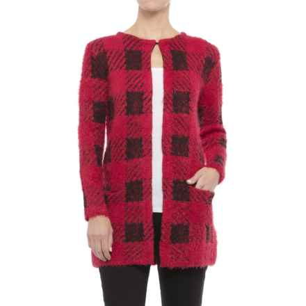 August Silk Chevron Printed Feathered Cardigan Sweater (For Women) in Buff Check Red - Closeouts