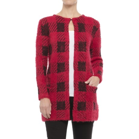 August Silk Chevron Printed Feathered Cardigan Sweater (For Women) in Buff Check Red