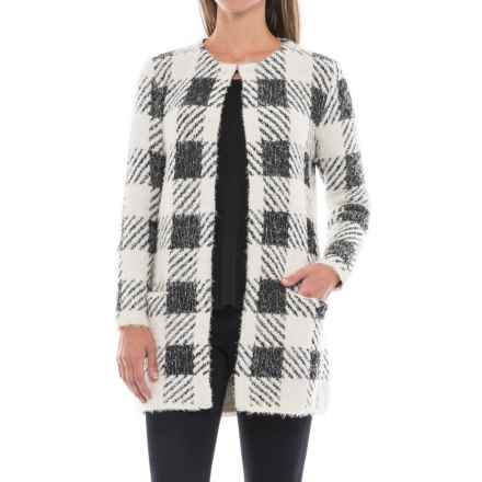 August Silk Chevron Printed Feathered Cardigan Sweater (For Women) in Buff Check - Closeouts