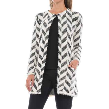 August Silk Chevron Printed Feathered Cardigan Sweater (For Women) in Chevron - Closeouts