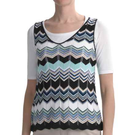 August Silk Chevron Stripe Shirt - V-Neck, Short Sleeve (For Women) in Cool Combo - Closeouts